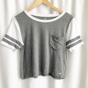 Hollister grey and white cropped tee